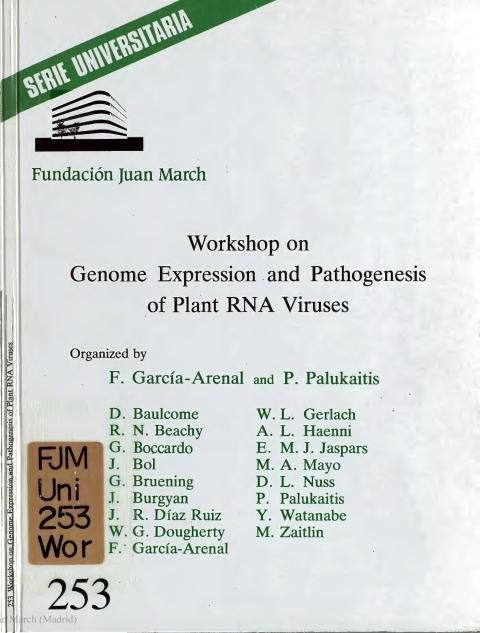 "Portada de ""Workshop on Genome Expression and Pathogenesis of Plant RNA Viruses"""