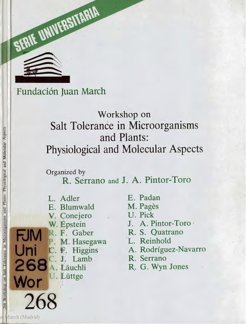 "Portada de ""Workshop on Salt Tolerance in Microorganisms and Plants :Physiological and Molecular Aspects"""
