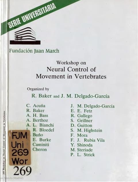 "Portada de ""Workshop on Meural Control of Movement in Vertebrates"""