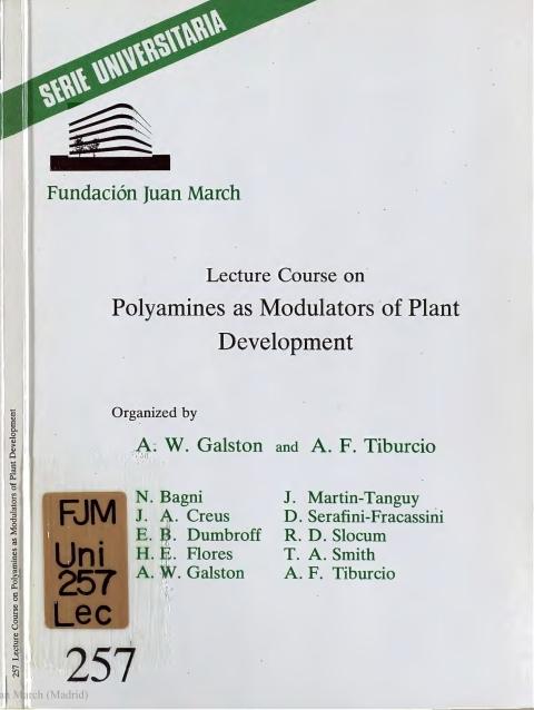 "Portada de ""Lecture Course on Polyamines as Modulators of Plant Development"""
