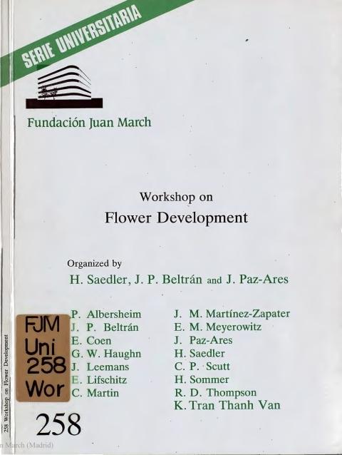 "Portada de ""Workshop on Flower Development"""