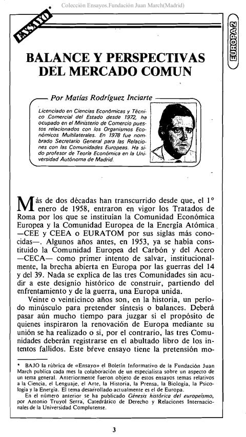 Balance y perspectivas del Mercado Común [1981]. Biblioteca