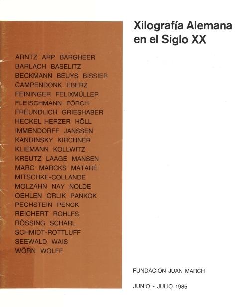 """Portada de """"Xilografía alemana en el siglo XX : junio-julio 1985"""""""