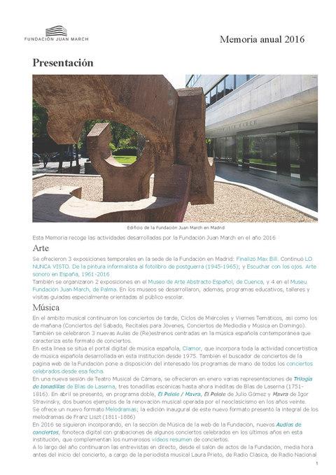 "Portada de ""Memoria anual 2016"""