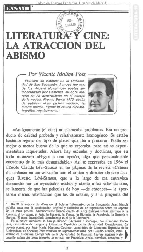 Literatura y cine: la atracción del abismo [1984]. Biblioteca