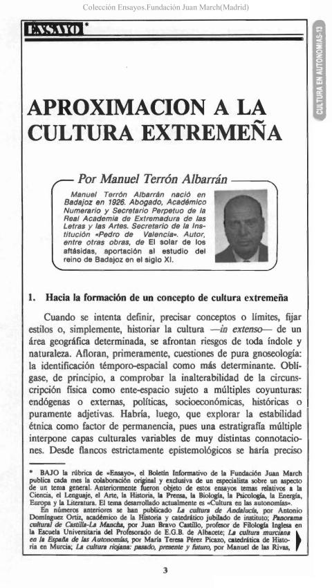 """Portada de """"Aproximación a la cultura extremeña"""""""