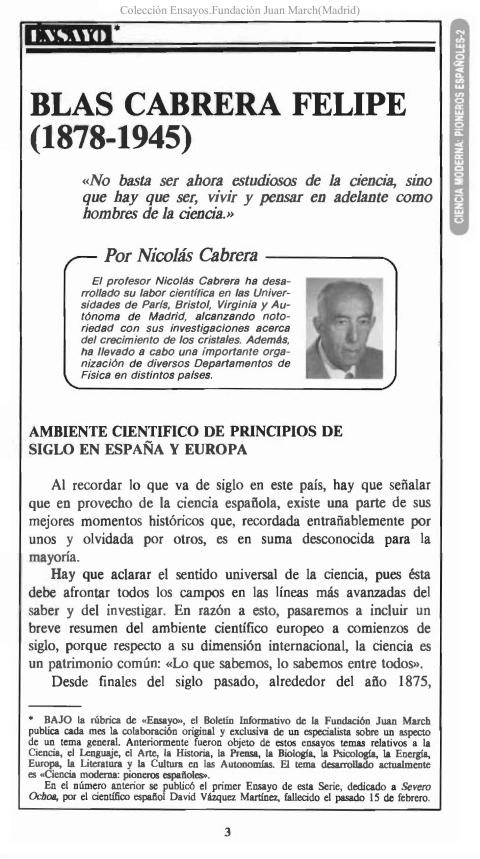 Blas Cabrera Felipe (1878-1945) [1986]. Biblioteca