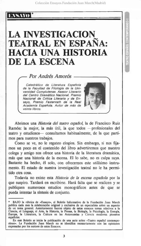 La investigación teatral en España,: hacia una historia de la escena [1988]. Biblioteca