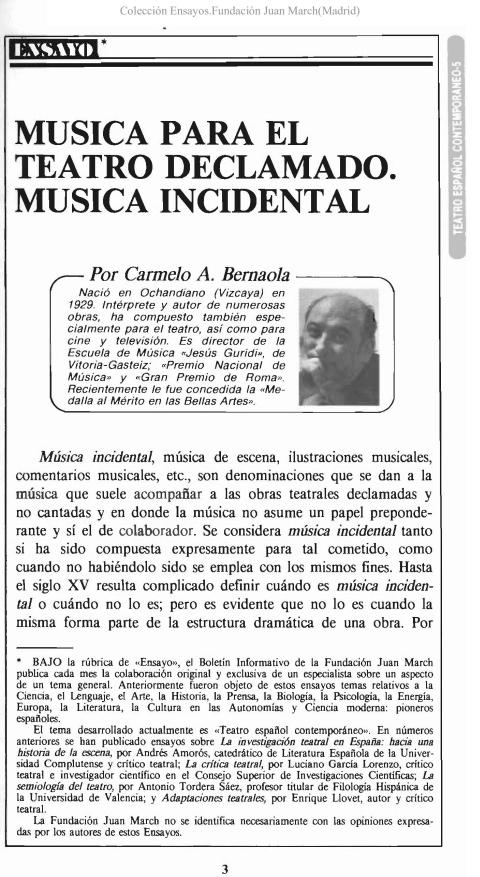 Música para el teatro declamado. Música incidental [1988]. Biblioteca