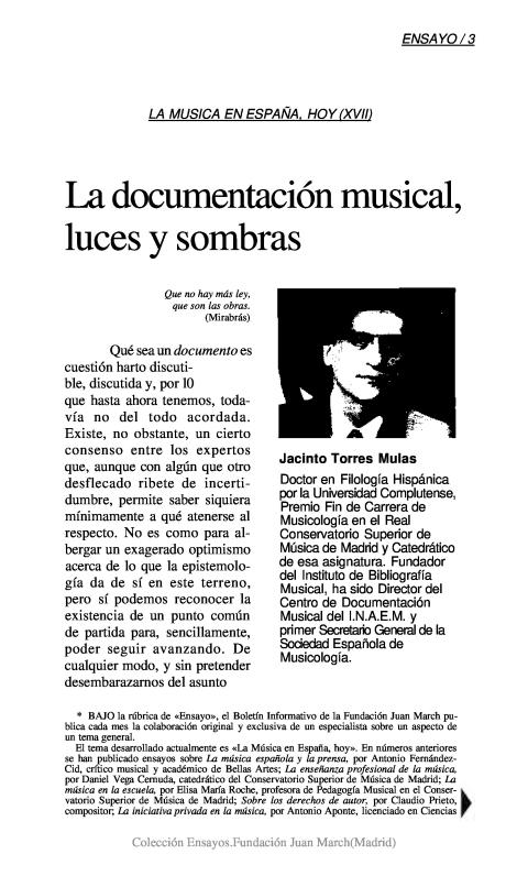 La documentación musical, luces y sombras [1991]. Biblioteca