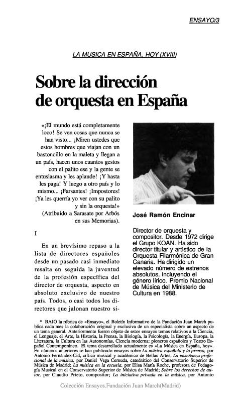 Sobre la dirección de orquesta en España [1991]. Biblioteca