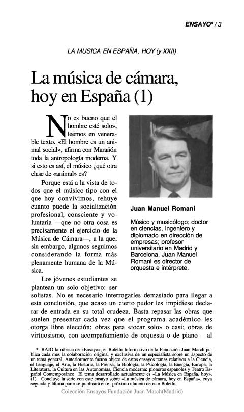 La música de cámara, hoy en España (I) [1992]. Biblioteca
