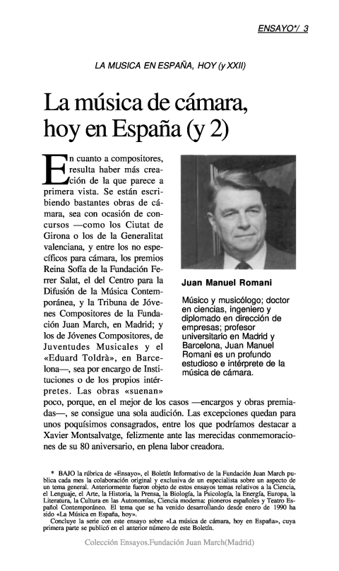 La música de cámara, hoy en España (y II) [1992]. Biblioteca