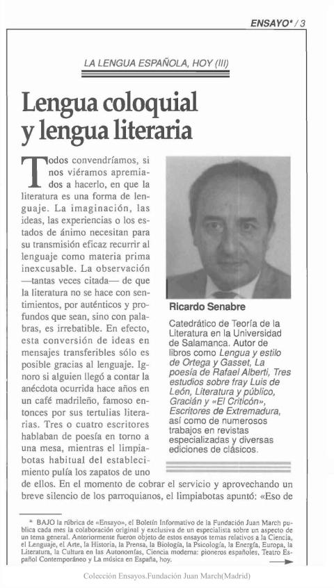 Lengua coloquial y lengua literaria [1992]. Biblioteca