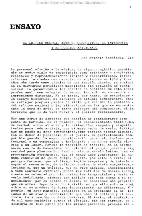 El crítico musical, ante el compositor, el intérprete y el público aficionado [1974]. Biblioteca