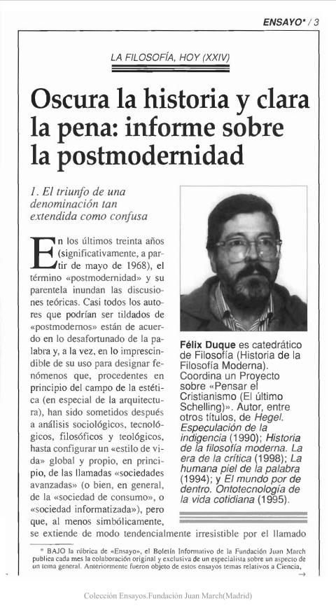 """Portada de """"Oscura la historia y clara la pena: informe sobre postmodernidad"""""""