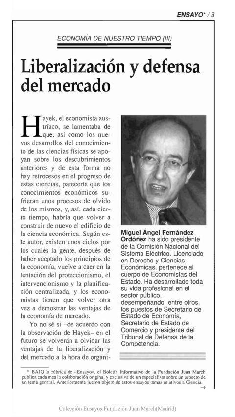 Liberalización y defensa del mercado [2000]. Biblioteca