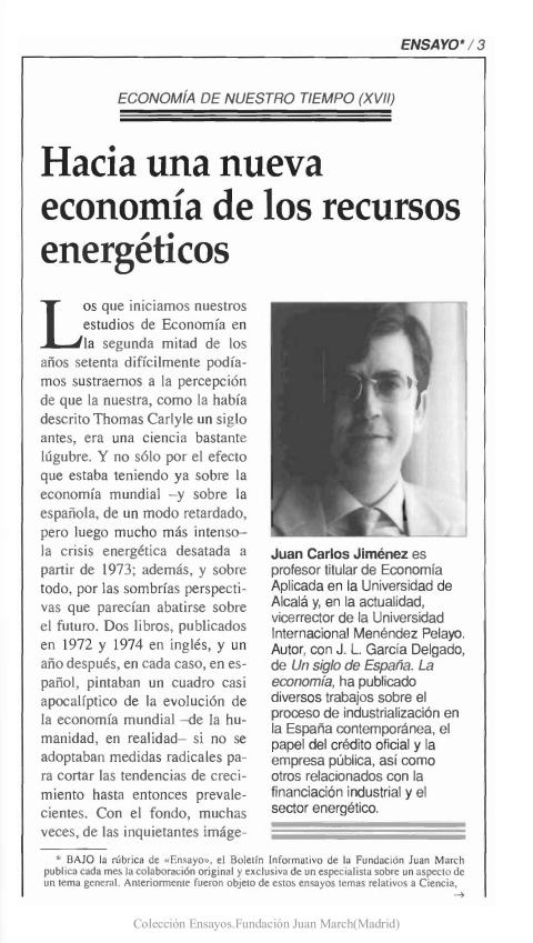 Hacia una nueva economía de los recursos energéticos [2001]. Biblioteca