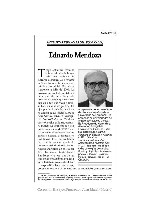 Eduardo Mendoza [2002]. Biblioteca
