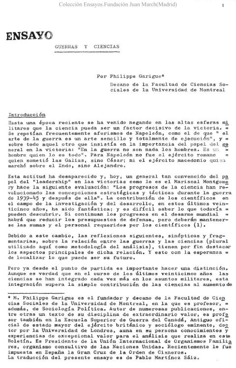 Guerras y Ciencias [1972]. Biblioteca