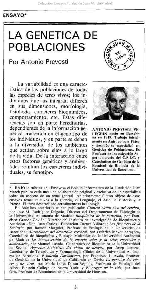 La genética de poblaciones [1977]. Biblioteca