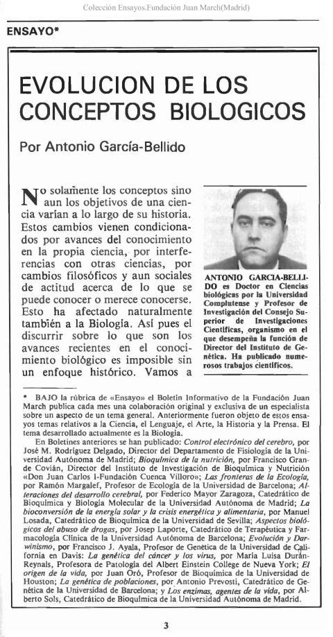Evolución de los conceptos biológicos [1978]. Biblioteca