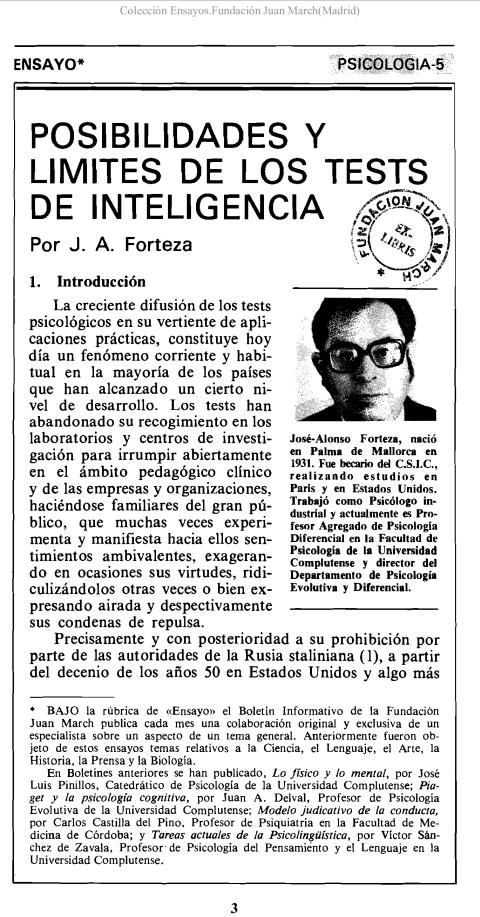 Posibilidades y límites en los tests de inteligencia [1978]. Biblioteca