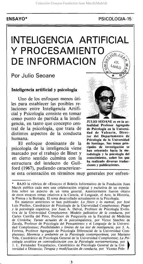Inteligencia artificial y procesamiento de información [1979]. Biblioteca