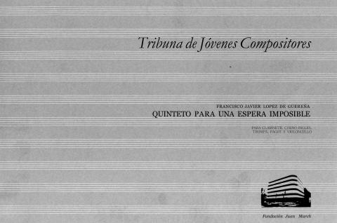 """Portada de """"Quinteto para una espera imposible : para clarinete, corno inglés, trompa, fagot y violoncello"""""""