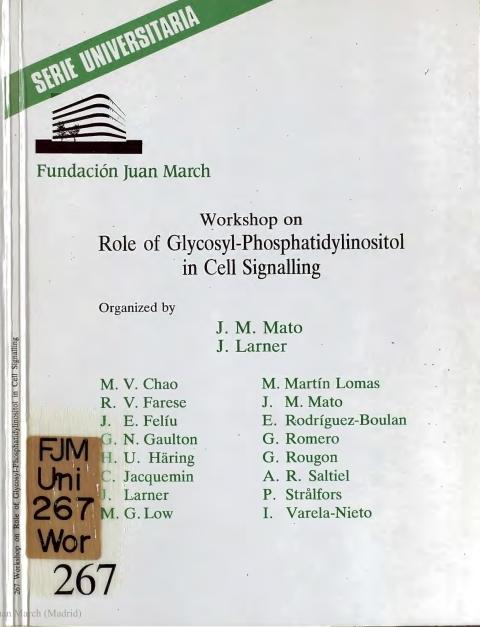 "Portada de ""Workshop on Role of Glycosyl-Phosphatidylinositol in Cell Signalling"""