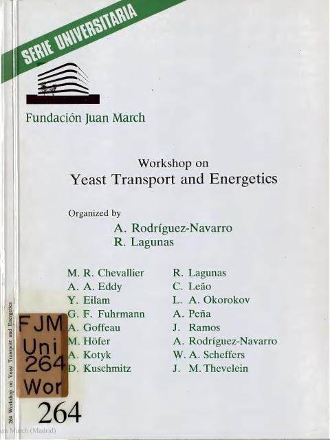 """Portada de """"Workshop on Yeast Transport and Energetics"""""""