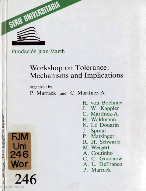 "Portada de ""Workshop on Tolerance : mechanisms and Implications"""