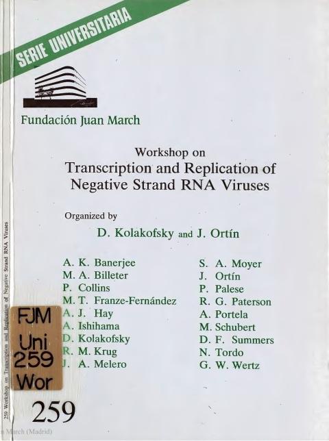 "Portada de ""Workshop on Transcription and Replication of Negative Strand RNA Viruses"""