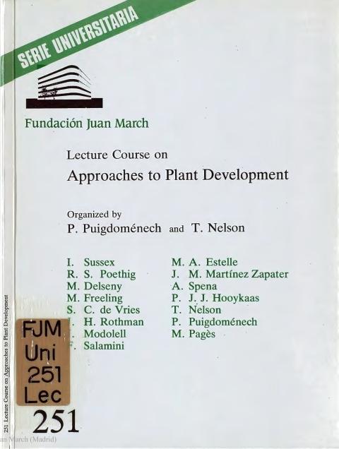 "Portada de ""Lecture course on Approaches to Plant Development"""