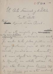 Cartas de Carlos Fernández Shaw a Manuel Linares Rivas.
