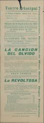 """Programa de mano de """"La canción del olvido"""" y """"La Revoltosa"""" : Teatro Principal (México)."""