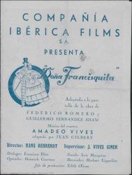 """Programa de mano de la película """"Doña Francisquita"""" : Palacio de la Música (Madrid)."""