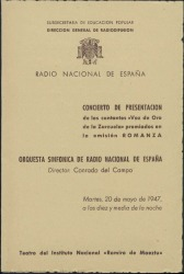 """Programa de mano del concierto de presentación de los cantantes """"Voz de Oro de la Zarzuela"""" premiados en la emisión Romanza : Teatro del Instituto Nacional Ramiro de Maeztu (Madrid)."""