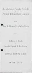 """Programa del cursillo sobre """"Pasado presente y porvenir de la zarzuela española"""" : Universidad de San Carlos de Guatemala."""