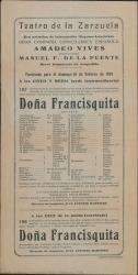 Doña Francisquita, de Federico Romero y Guillermo Fernández-Shaw, música de Amadeo Vives : Teatro de la Zarzuela (Madrid).