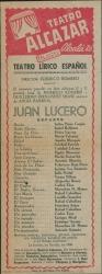 Juan Lucero, de Federico Romero y Guillermo Fernández-Shaw, música de Ángel Barrios : Teatro Alcázar (Madrid).