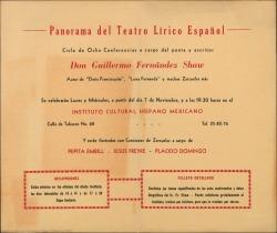 Panorama del Teatro Lírico Español : Instituto Cultural Hispano Mexicano (México).