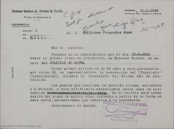 """Carta de la Sociedad General de Autores de España a Guillermo Fernández-Shaw, comunicándole el vencimiento del plazo de protección en Estados Unidos de """"Las delicias de Capua"""" y los trámites a seguir para su renovación."""