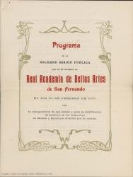 Programa de mano de la Solemne Sesión Pública de la Real Academia de Bellas Artes de San Fernando, para la inauguración de sus tareas y para la distribución de premios en los Concursos de Música y Escultura abiertos por la misma (Madrid).