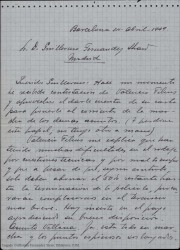 """Cartas de José Vives Giner a Guillermo Fernández-Shaw, relacionadas con """"La villana""""."""