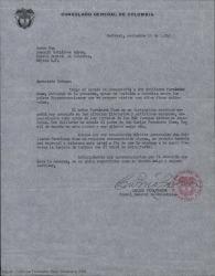 Carta de Carlos Peña Baena, Cónsul General de Colombia en Montreal, a Joaquín Gutiérrez Hoyos, Cónsul General de Colombia en México D.F. presentándole a Guillermo Fernández-Shaw que ha incluido Colombia entre los países que se propone visitar con fines culturales.