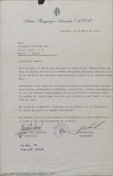 Carta de Autores Paraguayos Asociados a Guillermo Fernández-Shaw, enviándole un diploma de honor que le otorgan en virtud de sus valiosos merecimientos en favor de la cultura universal.