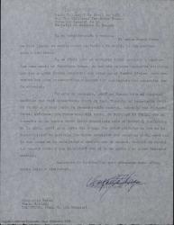 Carta de Margarita Xirgu a Guillermo Fernández-Shaw desde Uruguay, comentándole que le es difícil enviarle los datos precisos que le ha solicitado por haber perdido durante su ausencia de España todo el archivo de obras y documentación teatral que poseía.
