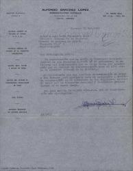 Carta de Alfonso Sánchez López a Guillermo Fernández-Shaw desde Venezuela, felicitándole por su nombramiento de Director General de la Sociedad General de Autores de España y poniéndose a su disposición para lo que quiera.