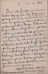 Cartas de Alberto Valero Martín a Guillermo Fernández-Shaw expresando su dolor por la muerte de Carlos Fernández Shaw, hablando de un artículo que ha publicado sobre él y acusando recibo de las obras cuyo envío había solicitado.